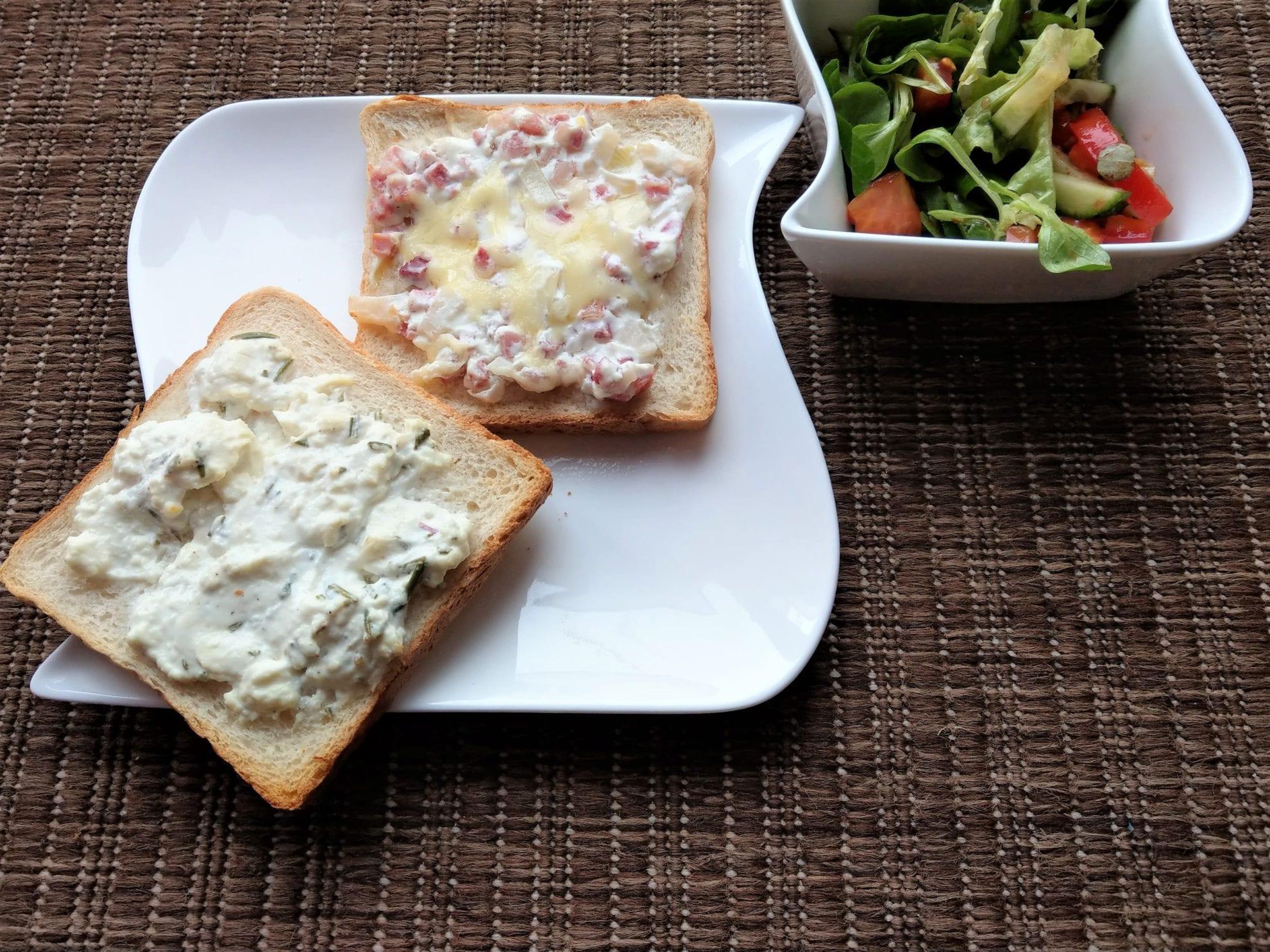 Flammkuchentoast, Toast, Flammkuchen, Rezept, simpel, mit Kindern kochen, Kochen mit Kindern