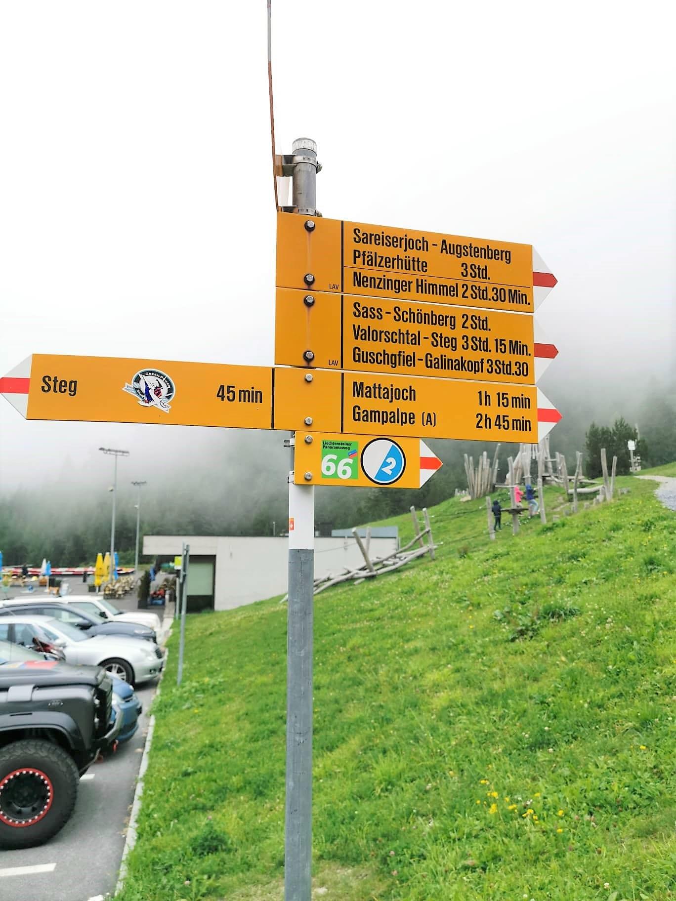 Liechtenstein Malbun Wanderwege Beschilderung