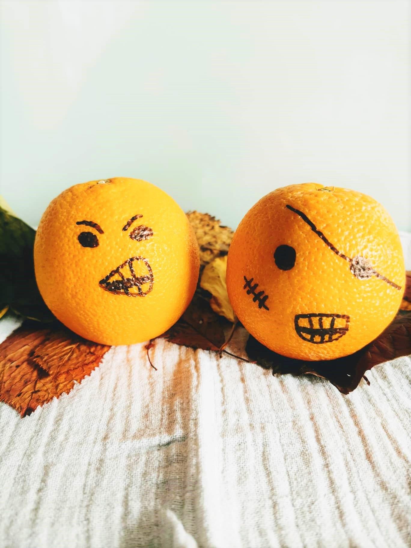 Orange, Mandarine, Gesicht, DIY Halloween Party