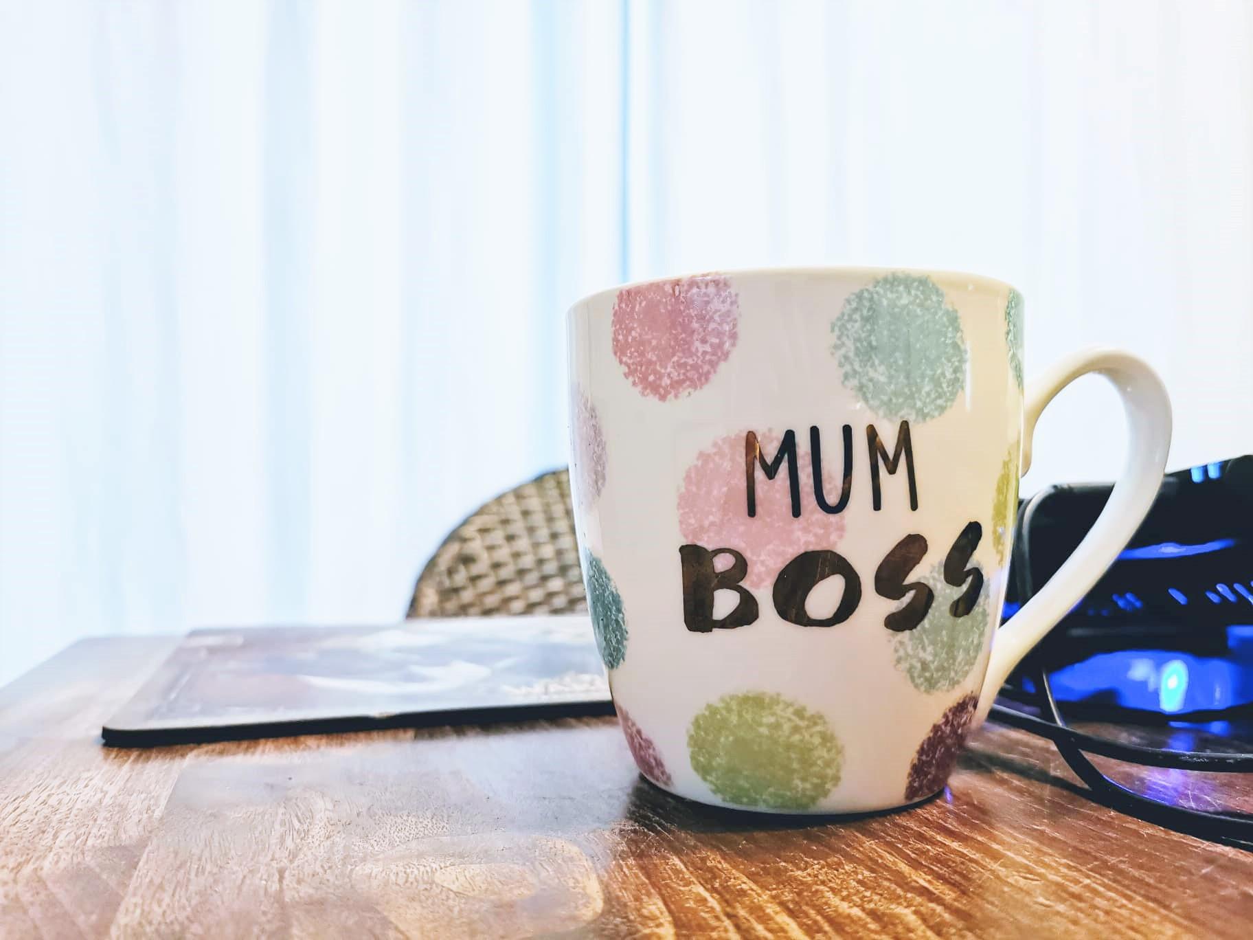 Puddingklecks Tasse Mum Boss Titel Homeoffice mit Kindern