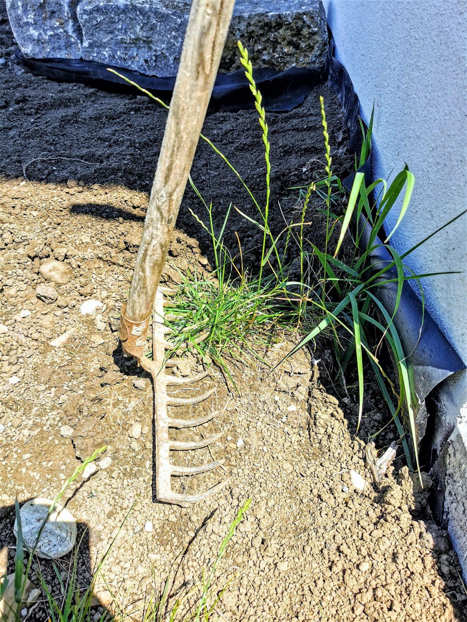 Leise Gartenarbeit geht auch am Sonntag. Steine schleppen zum Beispiel