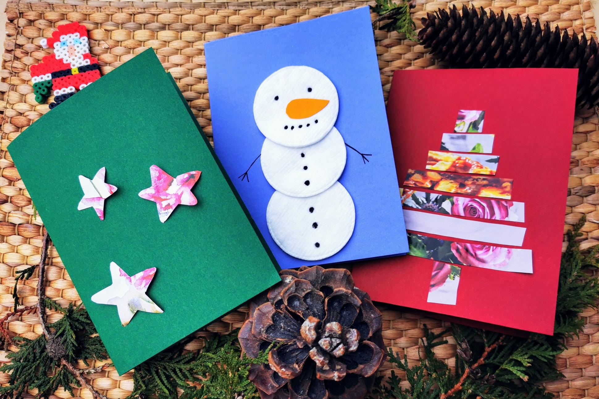Mit Kindern Weihnachtskarten basteln - 3 individuelle und einfache Motive, die auch für zwei linke Hände und wenig Zeitaufwand geeignet sind.