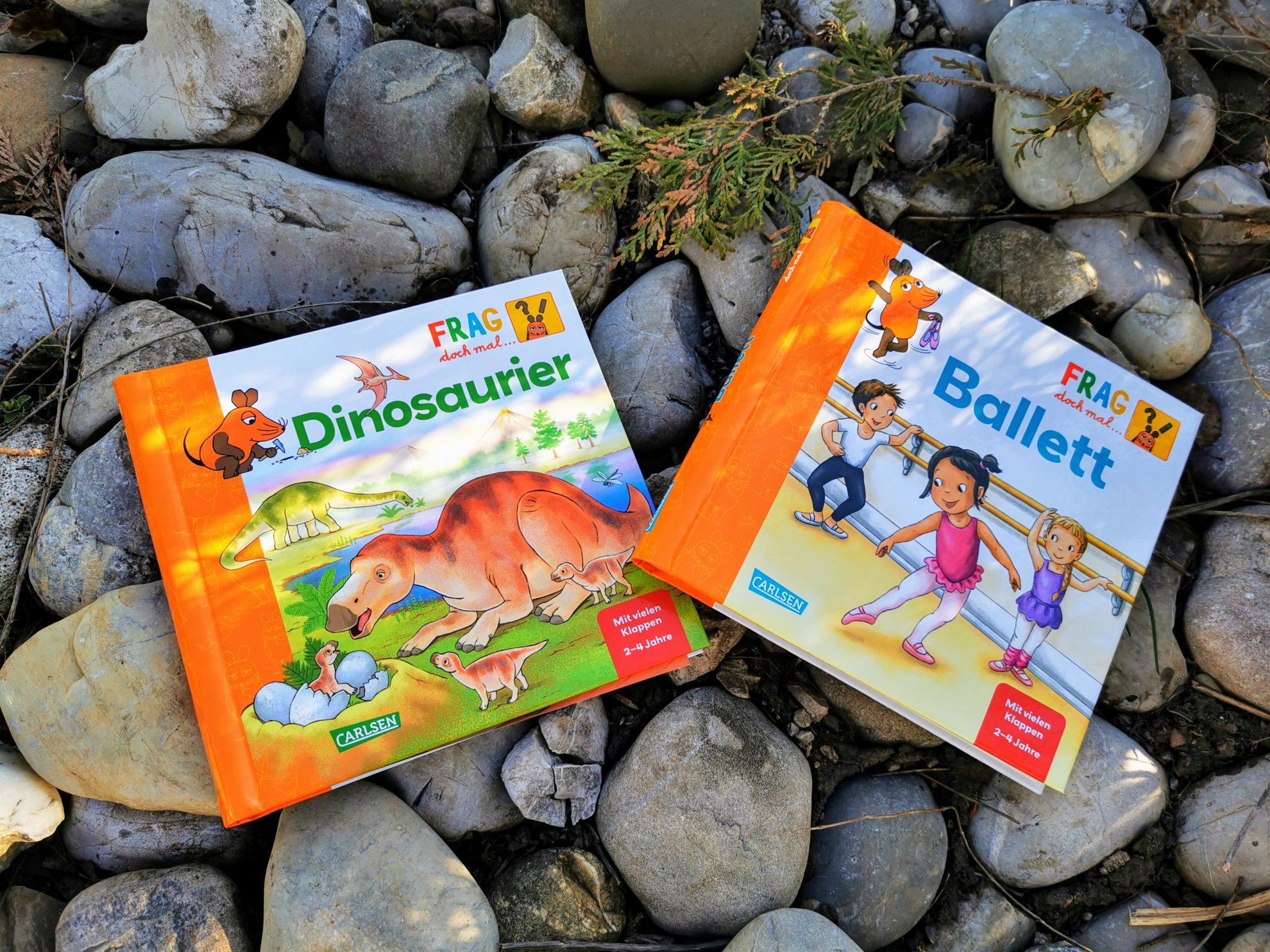 Alles über Dinosaurier und Ballett findest du in diesen beiden Pappbüchern aus dem Carlsen Verlag für Kinder ab 2 Jahren.