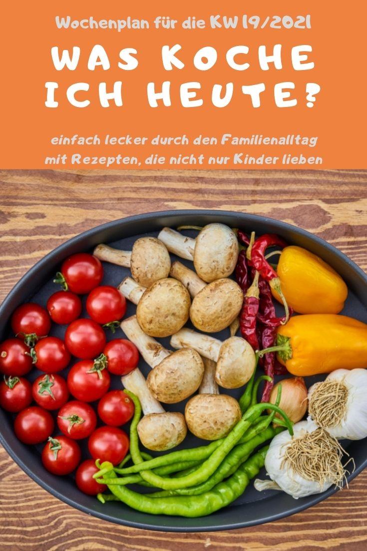 Bunt, lecker und abwechslungsreich kochen mit dem Familien-Wochenplan KW 19/2021. Vegane, vegetarische Rezepte & Gerichte mit Fleisch & Fisch. #kochen #rezepte #rezeptidee #wochenplan #speiseplan #familientisch #essen