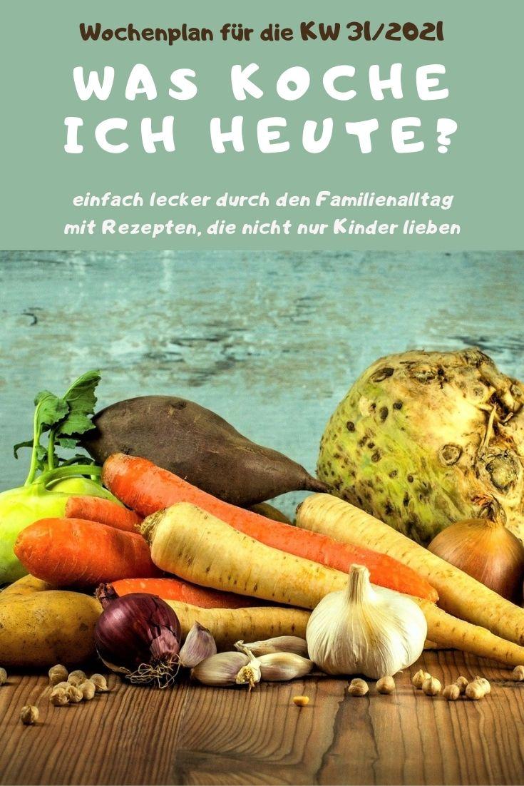 Bunt, lecker und abwechslungsreich kochen mit dem Familien-Wochenplan KW 31/2021. Vegane, vegetarische Rezepte & Gerichte mit Fleisch & Fisch. #kochen #rezepte #rezeptidee #wochenplan #speiseplan #familientisch #essen