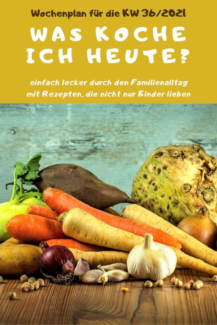 Bunt, lecker und abwechslungsreich kochen mit dem Familien-Wochenplan KW 36/2021. Vegane, vegetarische Rezepte & Gerichte mit Fleisch & Fisch. #kochen #rezepte #rezeptidee #wochenplan #speiseplan #familientisch #essen