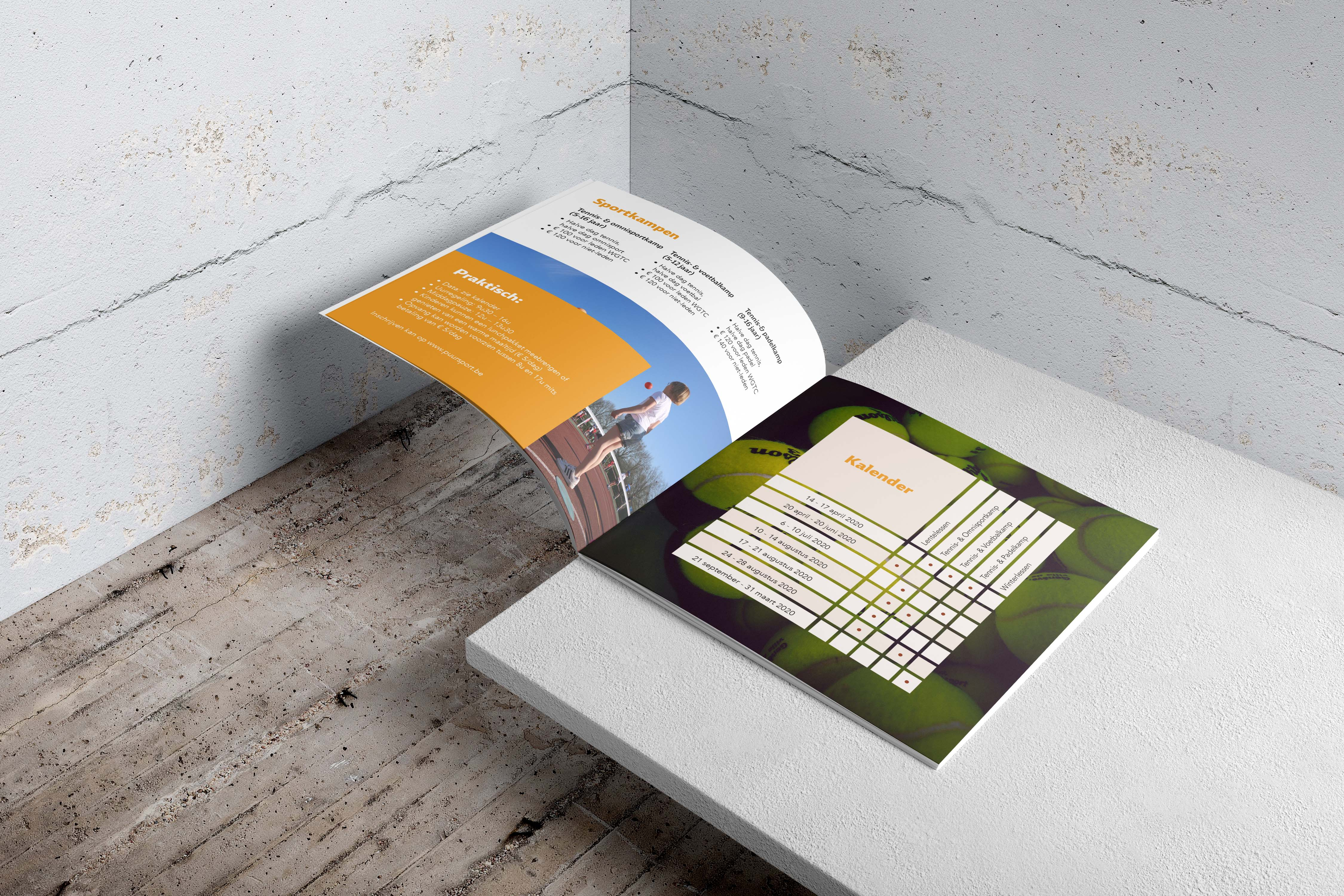 ontwerp folder brochure tennisclub sportclub puur sport