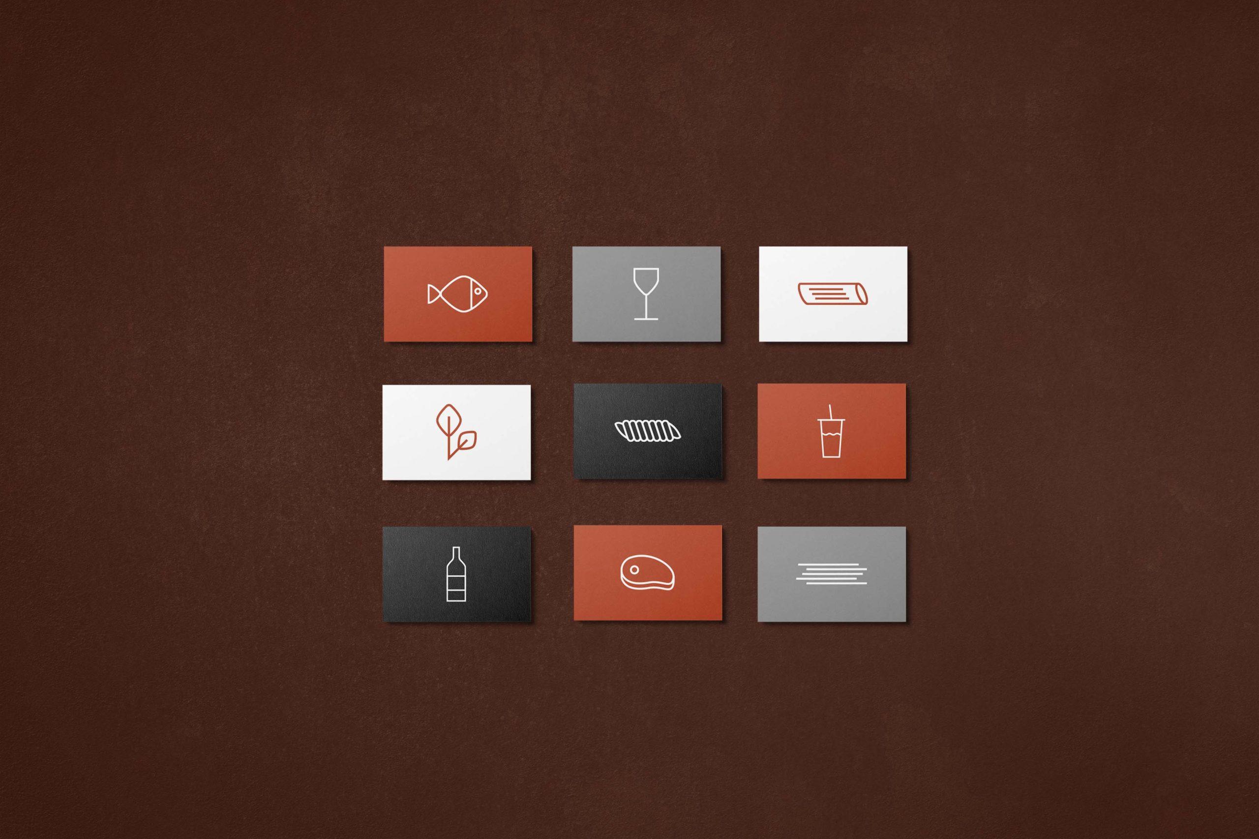 pasta ruffo naamkaartjes icons menukaart