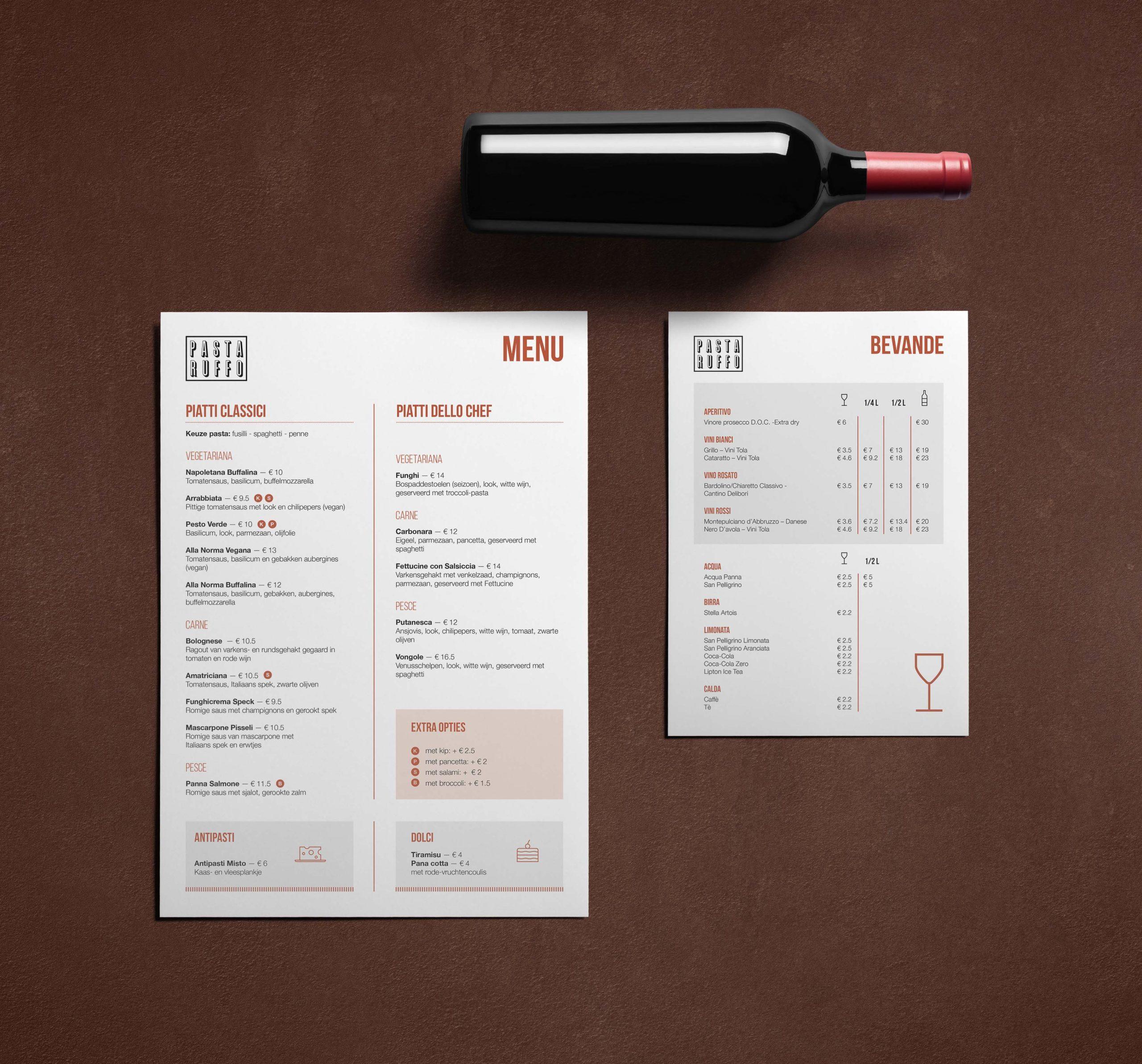 pasta ruffo ontwerp menukaart en drankkaart
