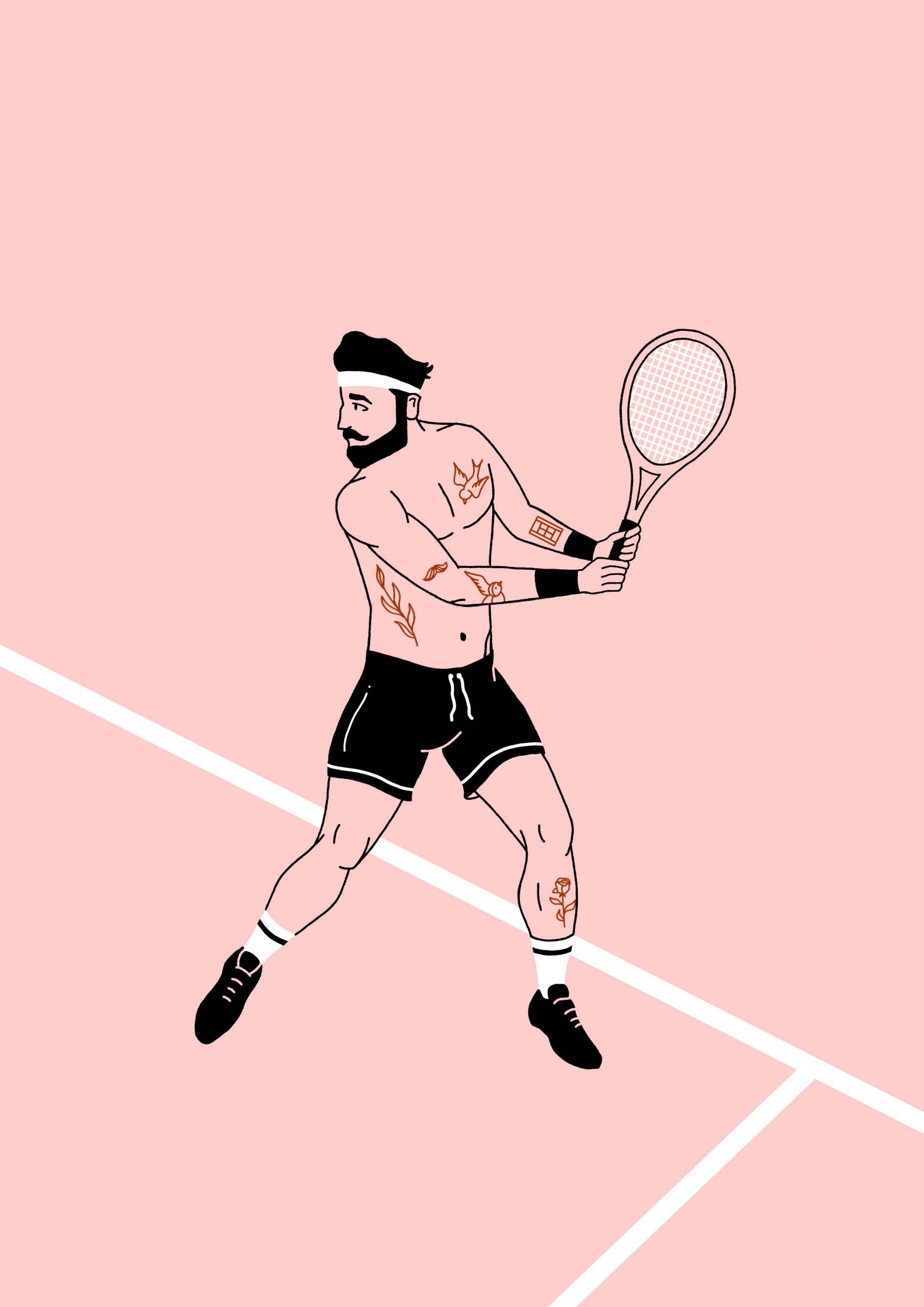 Illustratie van tennisspeler met tattoos