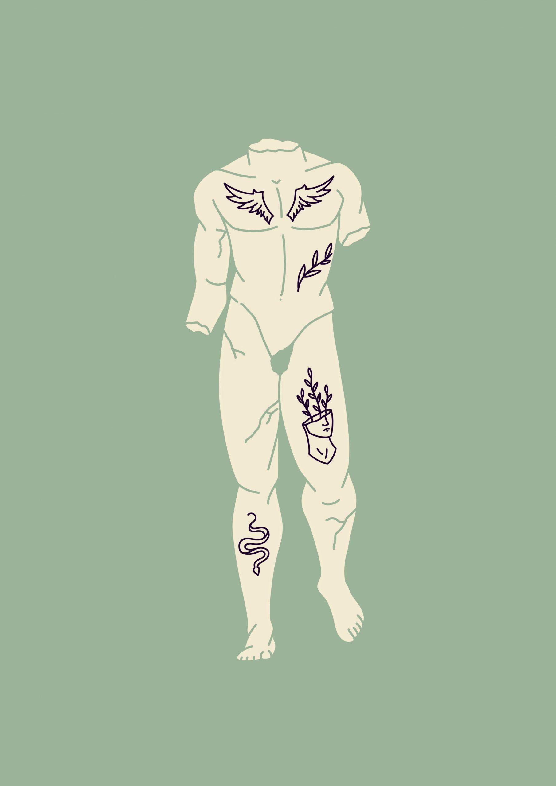Illustratie van standbeeld met tattoos