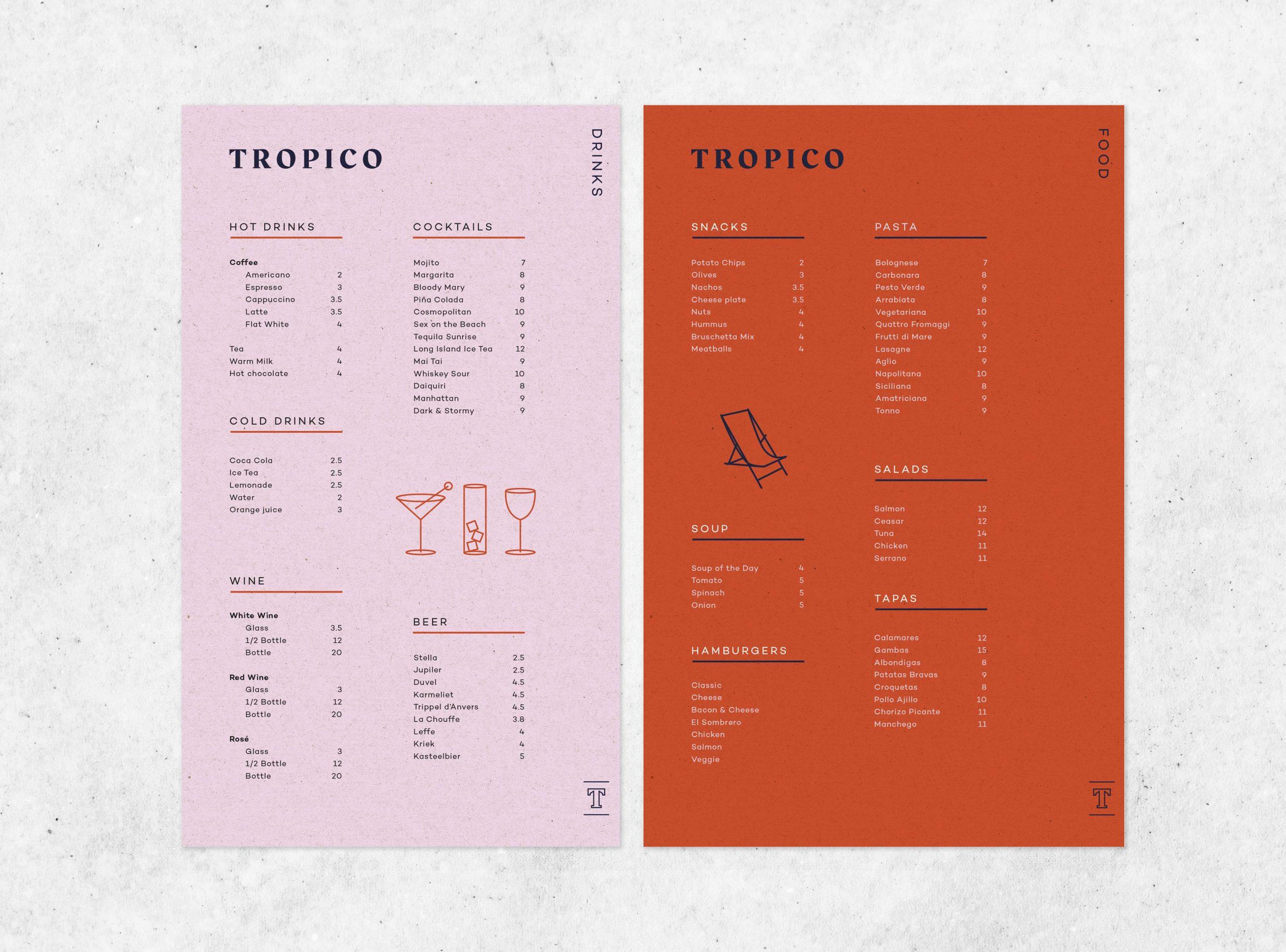 design menukaart Tropico koffiebar