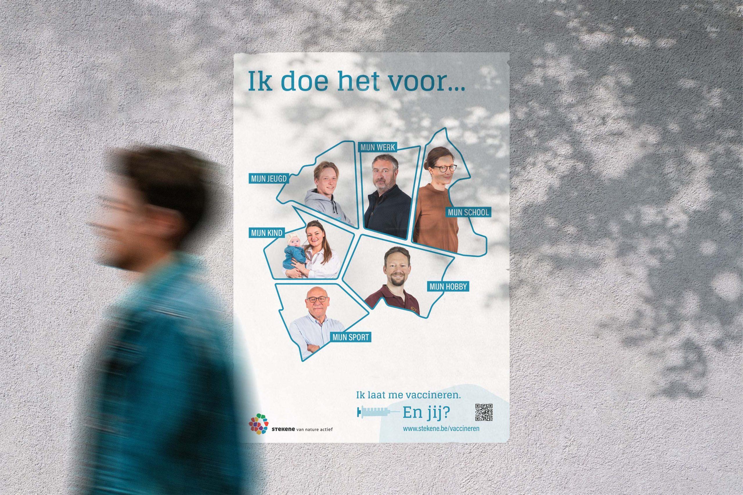 Poster voor vaccinatiecampagne Stekene en Sint-Gillis-Waas