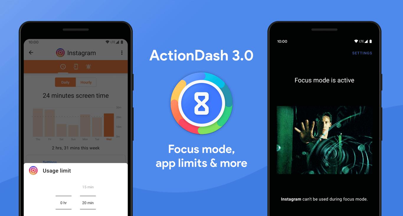 ActionDash 3.0: el Bienestar digital de Action Launcher adelanta a Google y añade Focus Mode