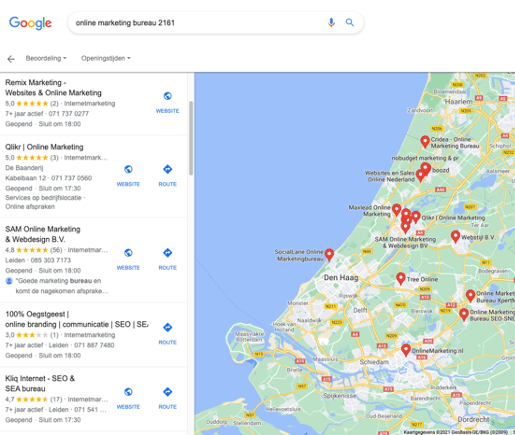 Google mijn bedrijf maps