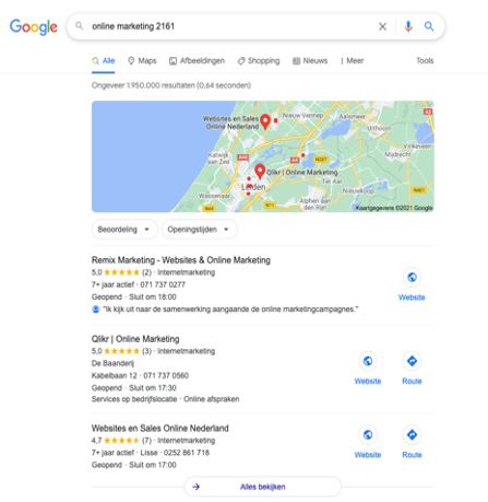 Google mijn Bedrijf zoekresultaten