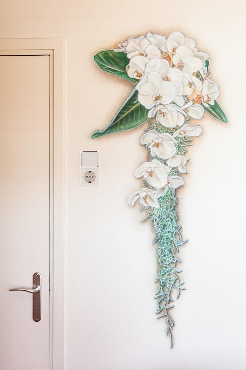 Bruidsboeket airbrush slaapkamer muurschildering in slaapkamer, romantische schildering