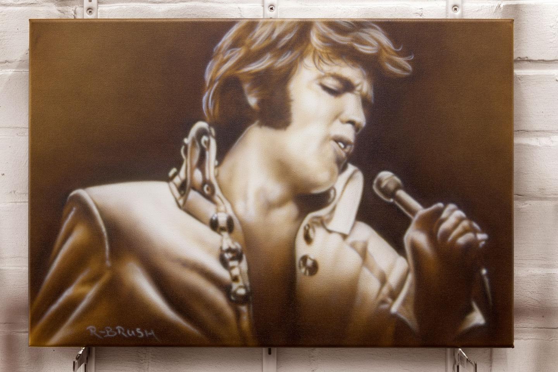 Elvis Presley sepia airbrush schilderij op canvas doek