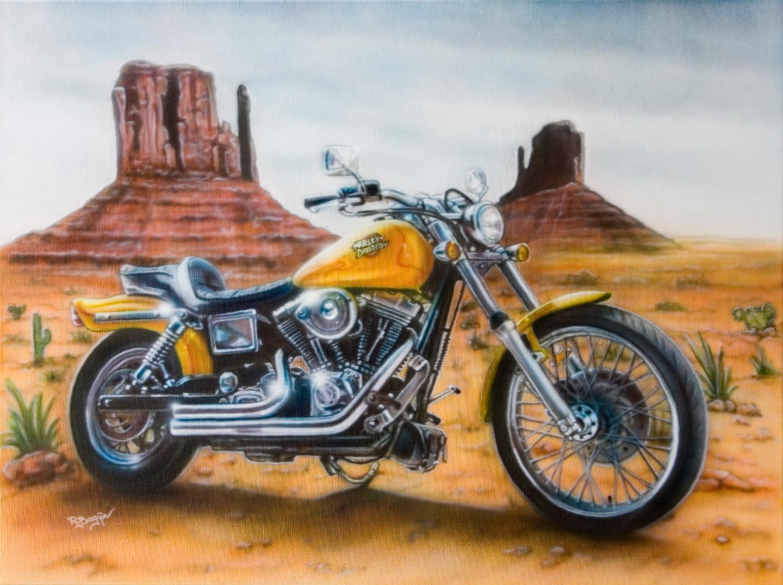 Harley Davidson airbrush schildering, je motor als schilderij