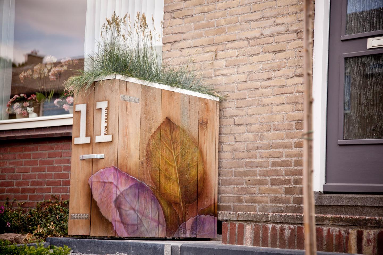 Plantenbak airbrush tuin / buiten schildering op steigerhout
