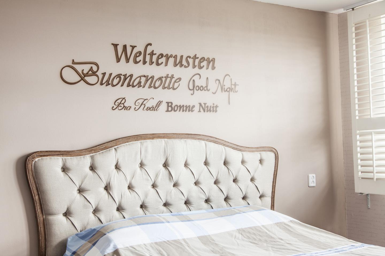Welterusten, good night luxury airbrush muurschildering in slaapkamer exclusief stijlvol