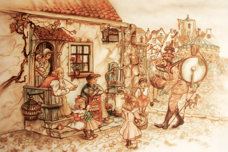 Bejaardenhuis Anton Pieck woonkamer muurschildering
