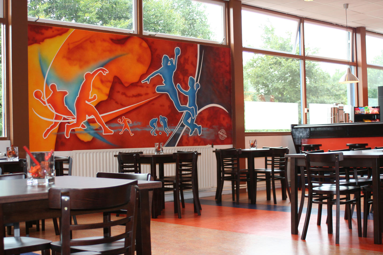 Muurschildering in kantine Handbalvereniging en sportclub