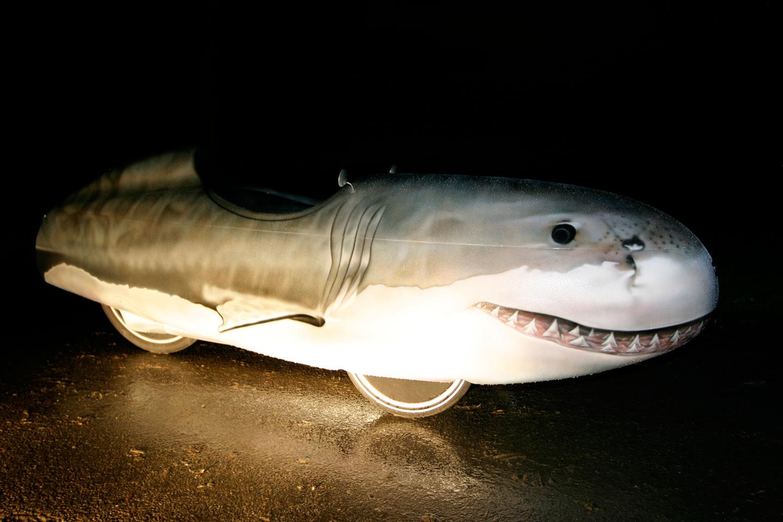 Quest stroomlijnfiets beschilderd als haai en reflecteert