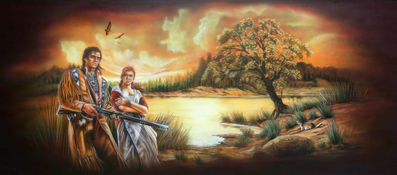 Westernstar Trailer met schildering van een landschap met indianen