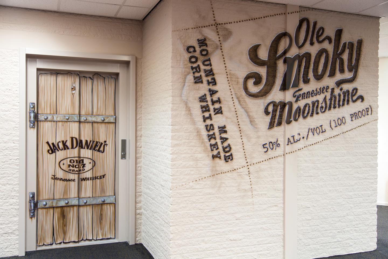Muurschildering Jack Daniels en Ole Smoky Tennessee Moonshine