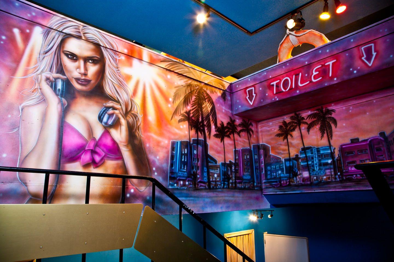 Muurschilderingen DJ at night BAJA beachclub Rotterdam