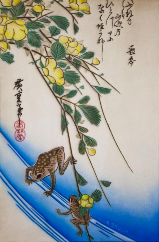 Japanse prent als airbrush schilderij van kikkers