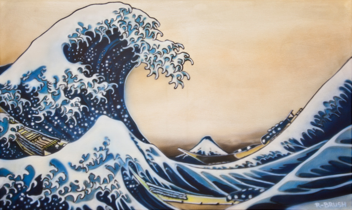Japans airbrush schilderij van The Great Wave off Kanagawa