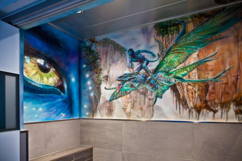 Muurschildering Avatar in wc / toilet