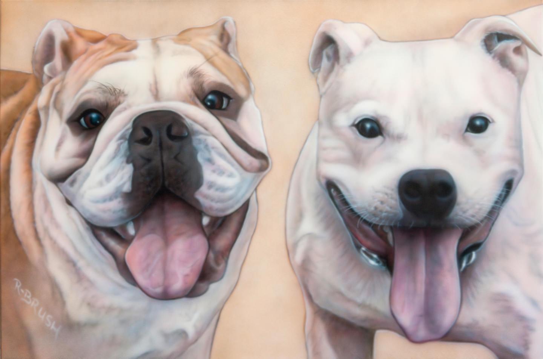 Honden schilderij airbrush op canvas doek