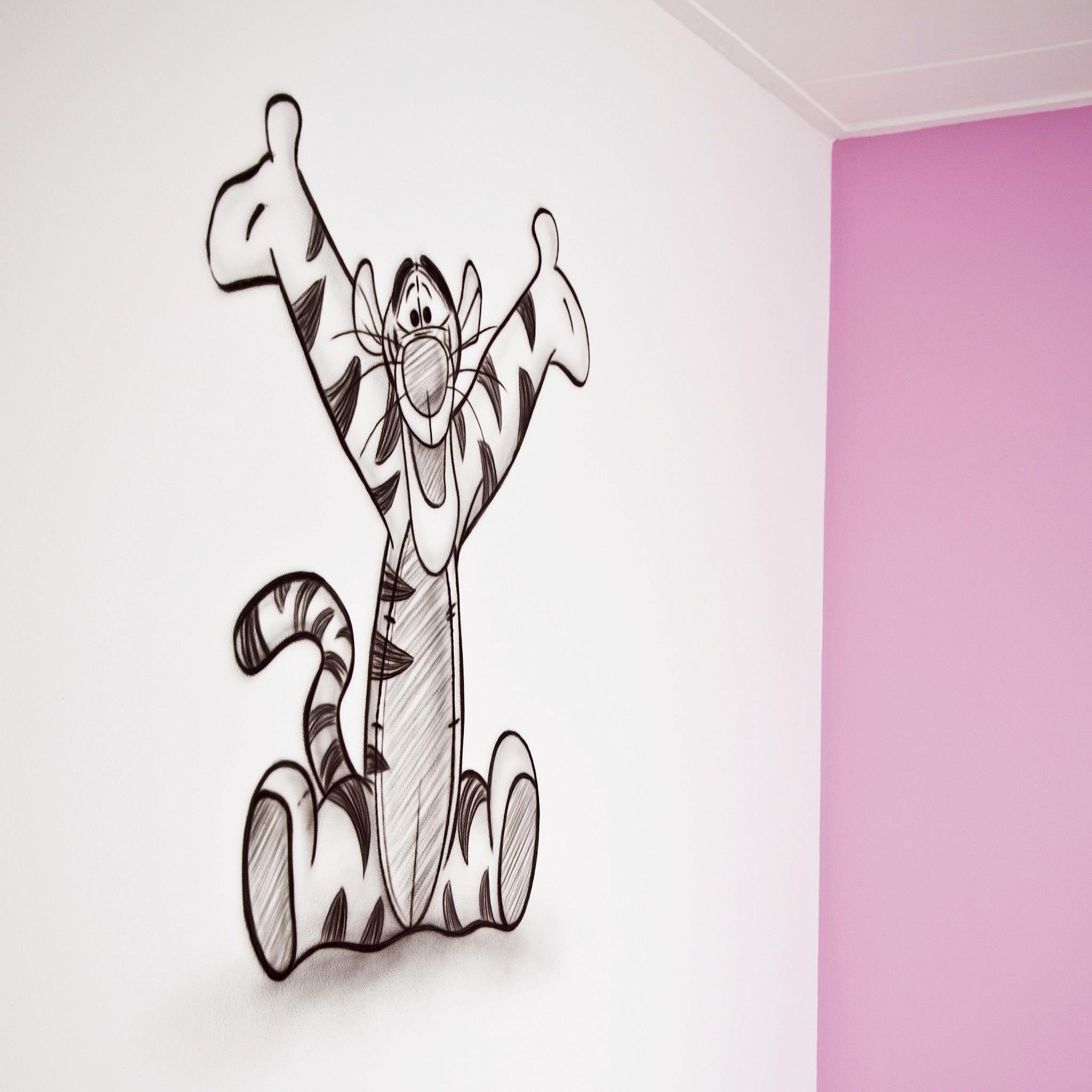Teigetje schets zwart-wit muurschildering in babykamer
