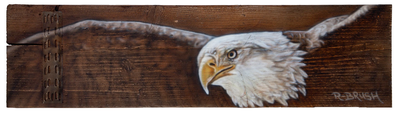 Amerikaanse arend airbrush schilderij op steigerhout plank