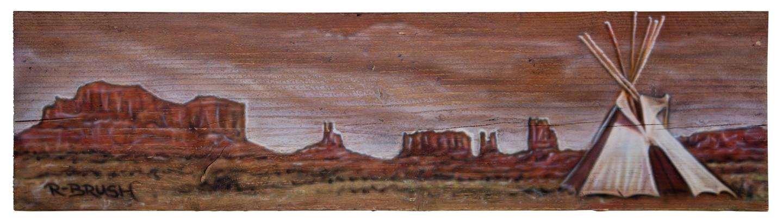 Amerikaanse western Grand Canyon airbrush schilderij op steigerhout