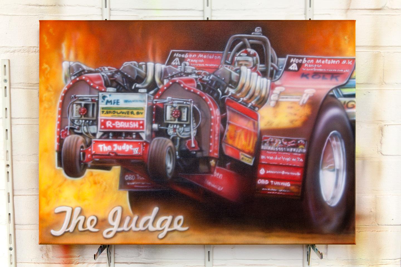 Tractor pulling airbrush schildering met vlammen op canvas