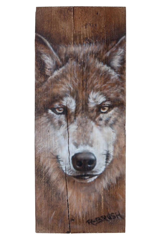 Wolf steigerhout plank airbrush schilderij van wolvenkop