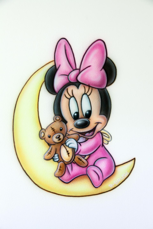 Babykamer Mini mouse airbrush muurschildering kinderkamer