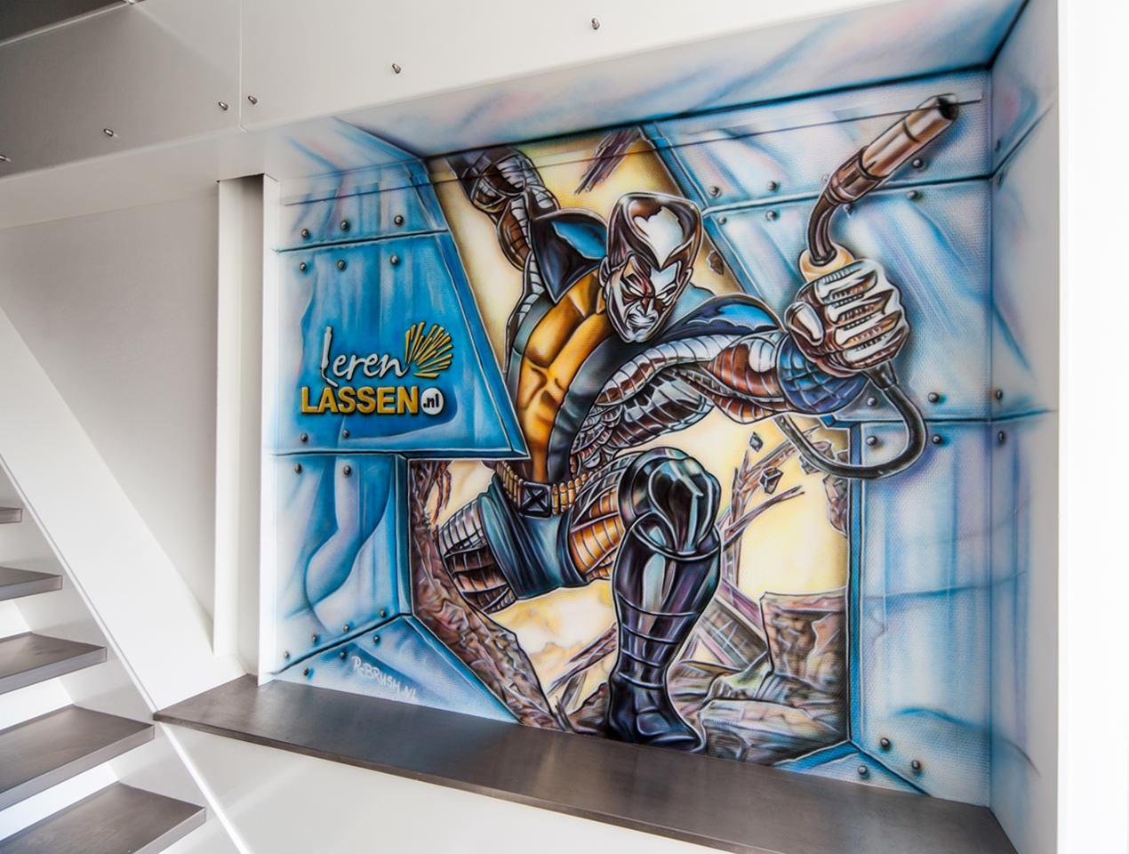 Airbrush muurschildering bij Leren Lassen Amsterdam