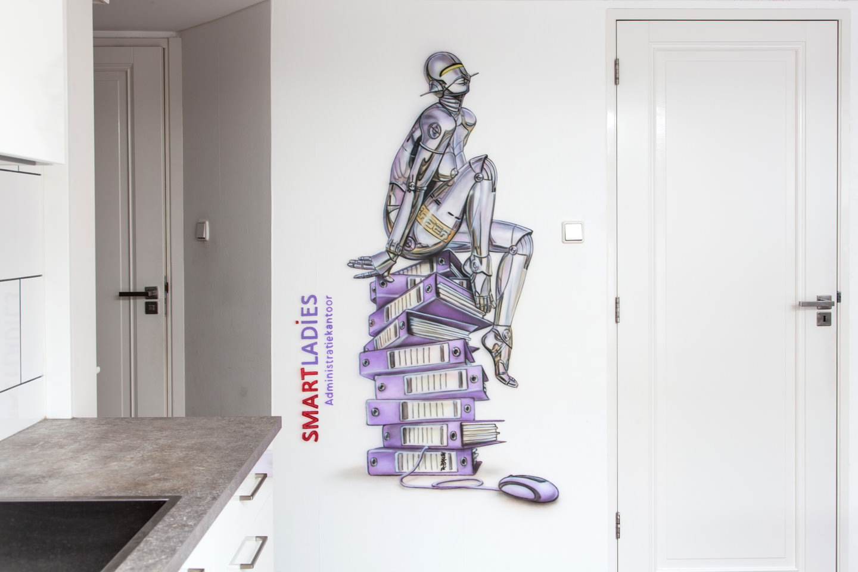Airbrush muurschildering Administratiekantoor SmartLadies Amsterdam