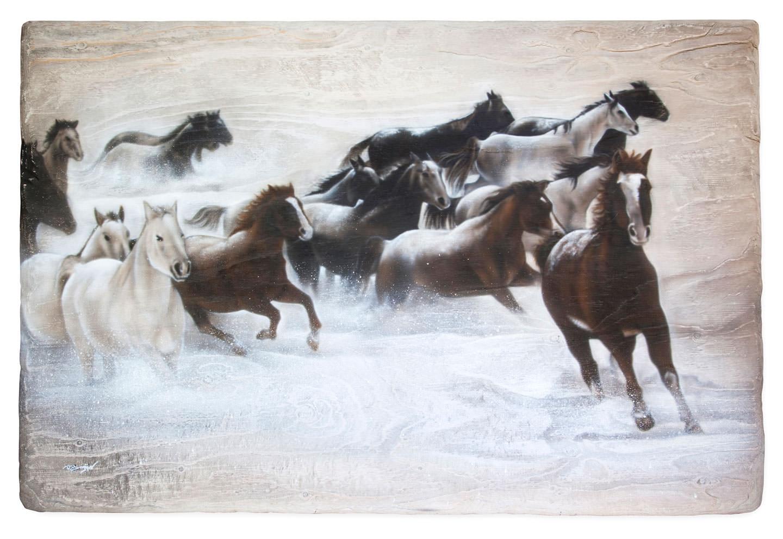Paarden in de sneeuw airbrush schilderij, gemaakt op multiplex plaat.