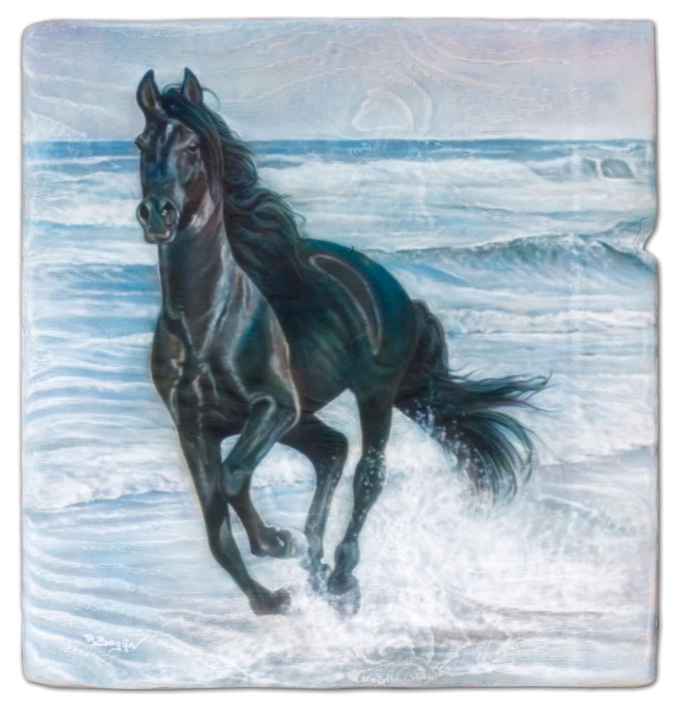 Paard aan de kust, een airbrush schilderij gemaakt op multiplex.