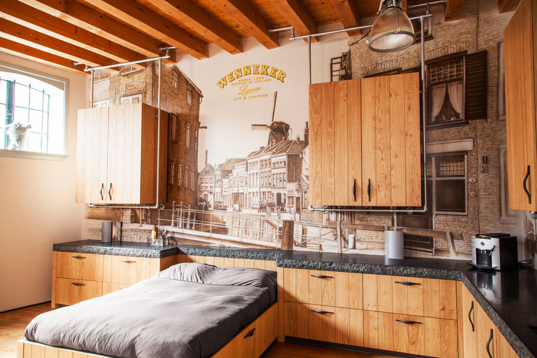 muurschildering slaapvertrek loft schiedam