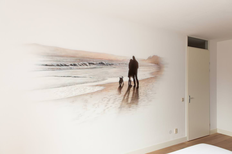 Strand muurschildering in slaapkamer