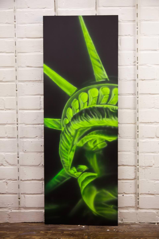 Blacklight schilderij vrijheidsbeeld op mdf