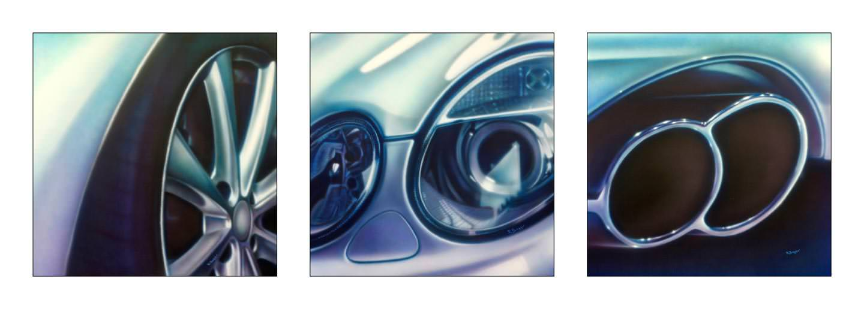 Auto detailschilderijen op canvas 70x70 cm
