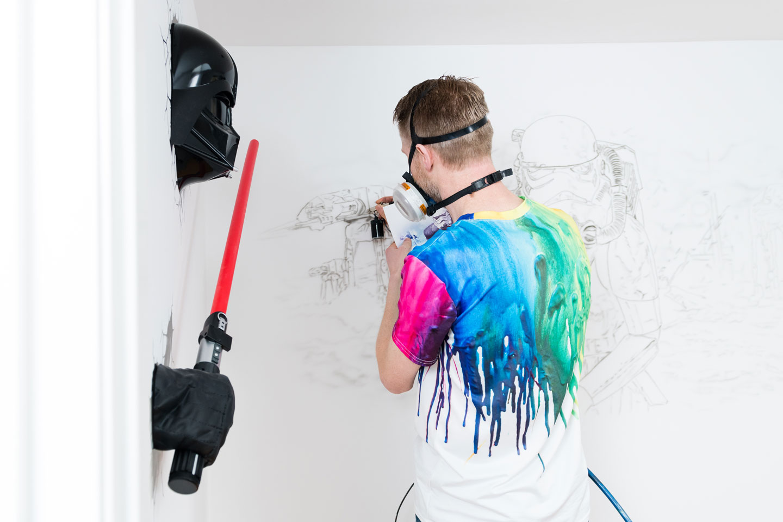 Star Wars muurschildering start met zwart